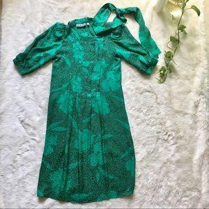 100% Silk Vintage Floral Shift Dress W Scarf